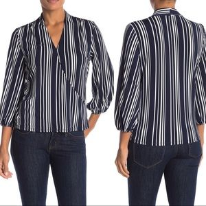 Adrianna Papell Blue White Striped 3/4 Sleeve Top